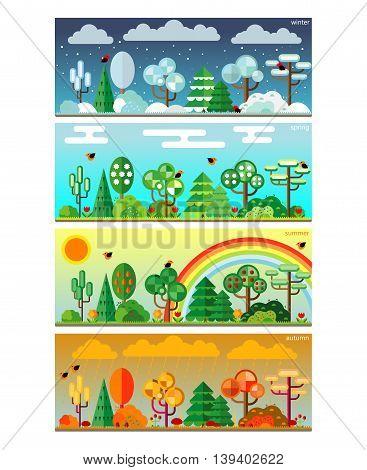 4 seasons park flat style set illustration. Vector.