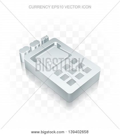 Banking icon: Flat metallic 3d ATM Machine, transparent shadow on light background, EPS 10 vector illustration.