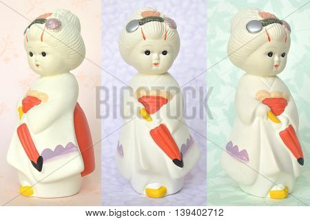 Japanese traditional doll, plaster doll, on colorful background