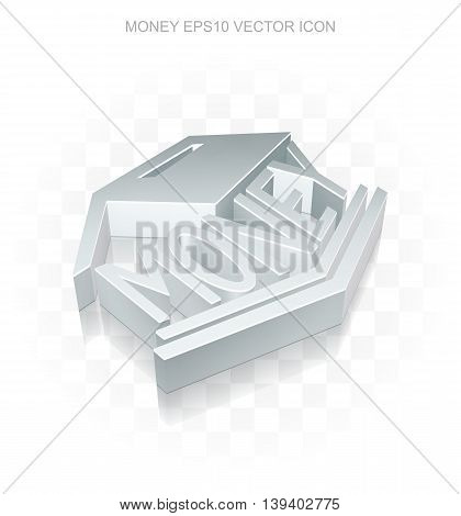 Currency icon: Flat metallic 3d Money Box, transparent shadow on light background, EPS 10 vector illustration.