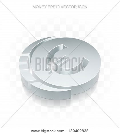 Currency icon: Flat metallic 3d Euro Coin, transparent shadow on light background, EPS 10 vector illustration.