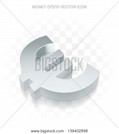 Currency icon: Flat metallic 3d Euro, transparent shadow on light background, EPS 10 vector illustration.