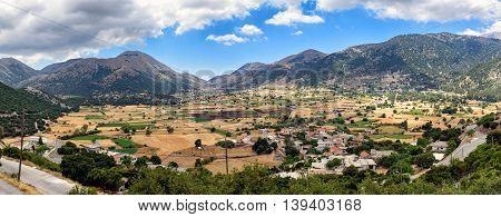 Panorama of walley near Chora Sfakion town at Crete island