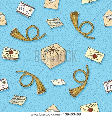 Postal Service. Mail Delivery. Seamless Vector Pattern with Beige Envelopes, Post Horns and Parcels on a Blue Background