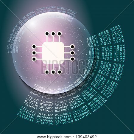 Vector abstract background and binary code and processor