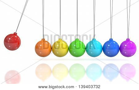 Colored Newton's cradle pendulum. 3D rendering isolated on white background