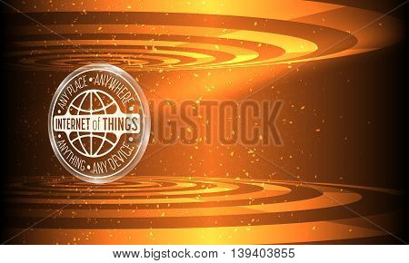 Vector abstract background with transparent circular objects and the words internet of things