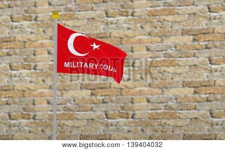 3D rendered turkey flag and write military coup.