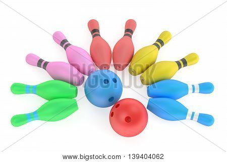 Kids Bowling 3D rendering isolated on white background