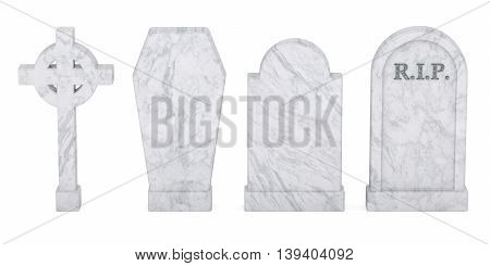 Set of tombstones isolated 3D rendering isolated on white background