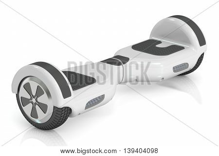 white hoverboard or self-balancing 3D renderings isolated on white background