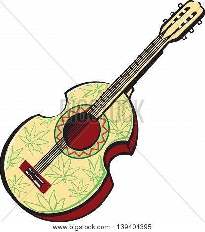Vector illustration of rastaman acoustic guitar painted with leaves of cannabis isolated on white background.