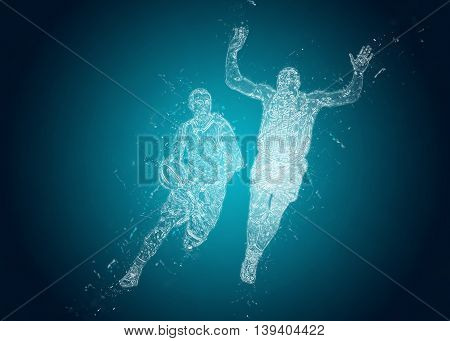 Abstract Basketball players in action. Crystal ice effect