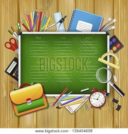 School timetable on green classroom chalkboard with supplies tools. School hand drawn schedule. Layered realistic vector illustration on wood background.