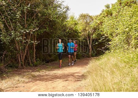 Group Of Joggers On A Trail