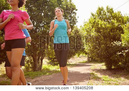 Joggers On A Natural Running Trail