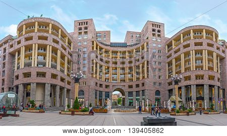 YEREVAN ARMENIA - MAY 29 2016: The luxury residential building in Nothern Avenue with brand boutiques and restaurant on the ground floor on May 29 in Yerevan.