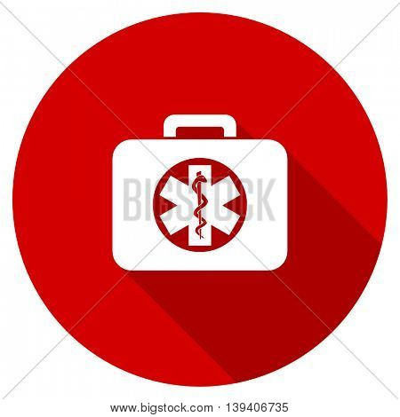 rescue kit red vector icon, circle flat design internet button, web and mobile app illustration