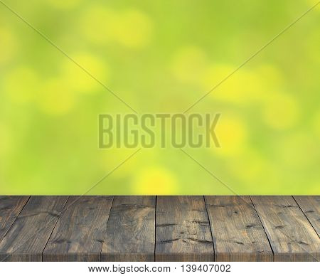 stand from dark wooden boards with light green blurred image