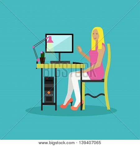 Online shopping concept vector illustration flat style design. Girl shopping online on internet staying at home.