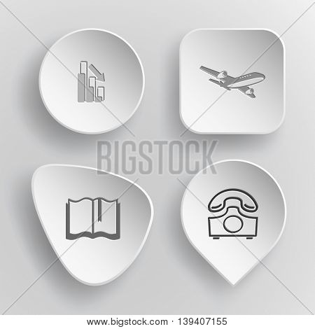 4 images: graph degress, airliner, book, rotary phone. Business set. White concave buttons on gray background. Vector icons.