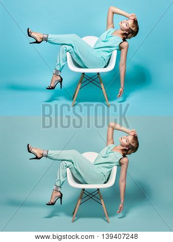 Stylish woman posing on a chair in pin-up style.