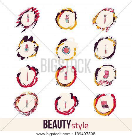 Beauty and makeup icon set. Concept image poster for wall art prints, mock up, home interior card, t-shirt