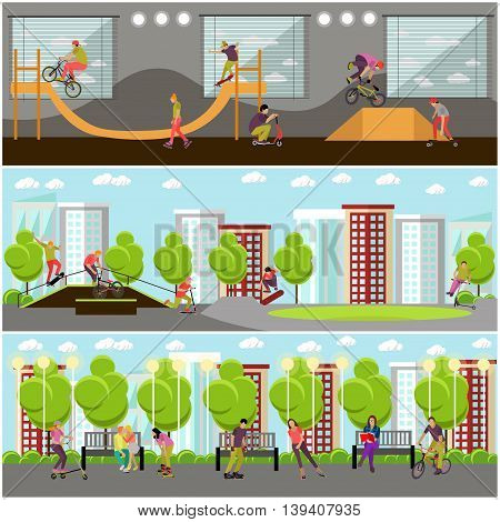Vector set of people on bicycle, skateboard, rollers and scooter. Sport design elements and icons isolated on white background. Teenager makes tricks and stunts. Skate park banners.