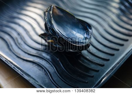 Empty shell of mussels on grill pan after mussels were eaten