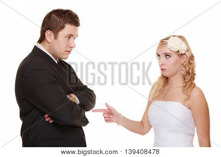 Wedding couple having argument - conflict bad relationships. Angry woman fury bride and groom in fight. Isolated