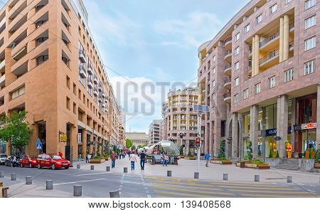 YEREVAN ARMENIA - MAY 29 2016: The Nothern Avenue is the best place for the shopping and relax in local restaurant or lounge bar on May 29 in Yerevan.