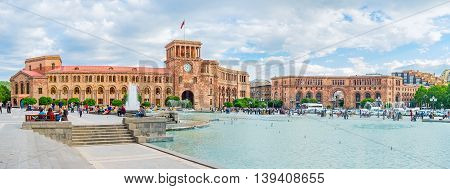 YEREVAN ARMENIA - MAY 29 2016: The beautiful architectural complex of Republic Square with the dancing fountains in the middle on May 29 in Yerevan.