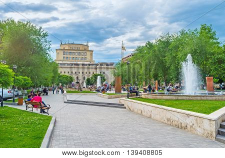 YEREVAN ARMENIA - MAY 29 2016: The park is occupied with exhibition named The Cultural Genocide: symbol of Khachkars on May 29 in Yerevan.