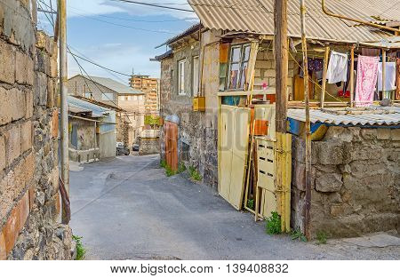 The slums of Yerevan located on the hilly area not far from city center Armenia.