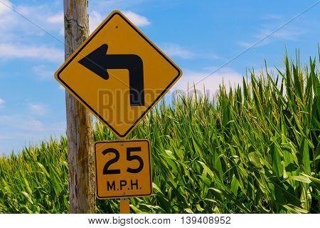 Sharp Left Turn Ahead Caution Directional Arrow Sign