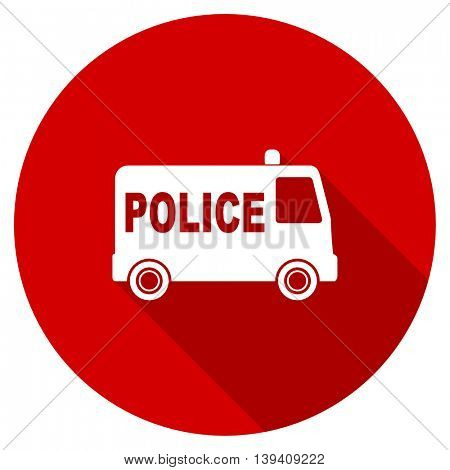police red vector icon, circle flat design internet button, web and mobile app illustration