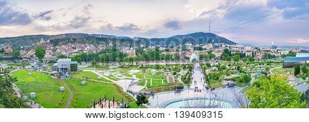 TBILISI GEORGIA - MAY 28 2016: The Rike park is one of the most popular sites in city with many tourist attractions on May 28 in Tbilisi.