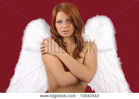 Beautiful woman with christmas like angel wings