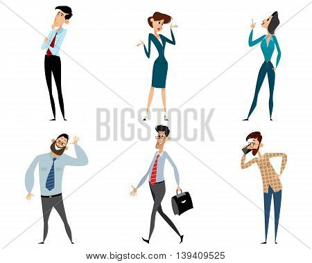 Vector illustration of a six office workers