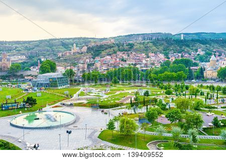 The dancing fountains located in the middle of Rike Park attracts the tourists Tbilisi Georgia.