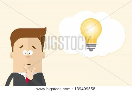 Thoughtful businessman or manager fancies the idea . A man in a business suit and light cloud . Man reflects on the action plan . Cartoon vector flat illustration