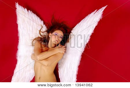 woman or butterfly. red background
