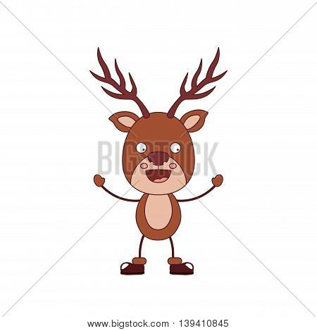 funny Christmas reindeer character isolated icon design, vector illustration graphic