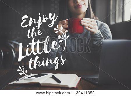 Enjoy Happiness Lifestyle Freedom Fun Concept