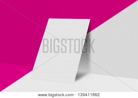 Mock-up postcard and cover. White paper card on color and grey background. For your design and template.