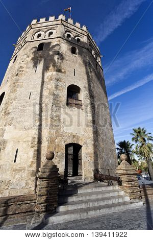 Facade of the Torre del Oro (Tower of the Gold) a dodecagonal military watchtower in Seville Spain