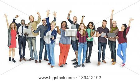 Diverse Group People Standing Technology Concept