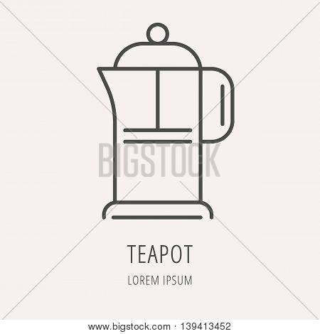 logo or label drink. Line style logotype template with teapot. Easy to use business template. Vector abstract logo or emblem.