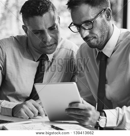 Businessmen Discussion Technology Outdoors Concept