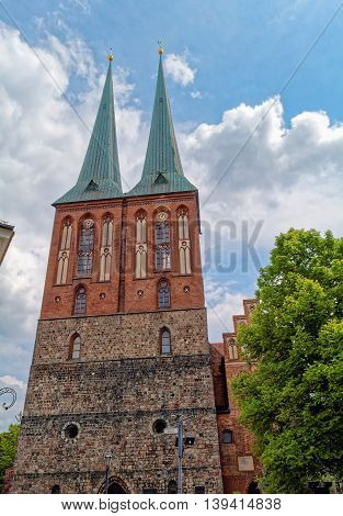 St. Nicholas Church (Nikolaikirche) in the historic quarter Nikolaiviertel is the oldest church in Berlin, Germany